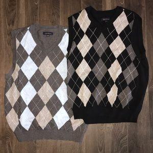 2 -Argyle front sweater vest  - over dress shirts